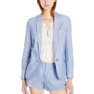 Joie Size 2 Blue Linen Blazer Single Button